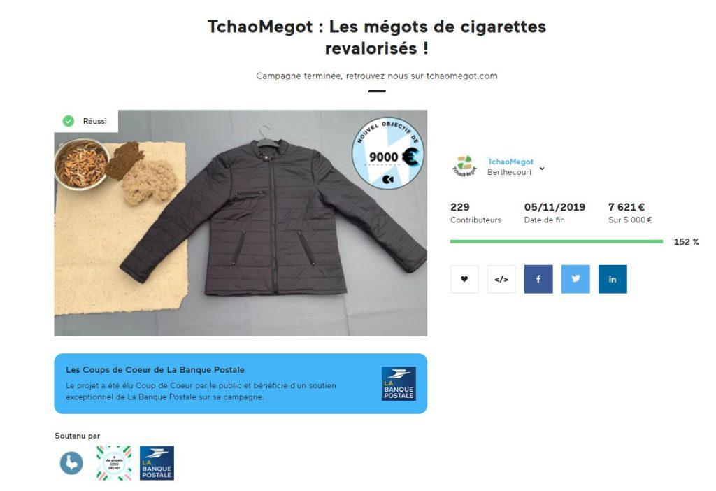 Résumé de la campagne de crowndfonding de TchaoMégot